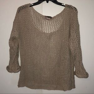 Beige crocheted boat neck sweater